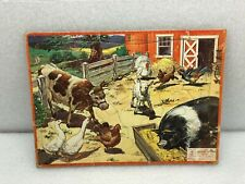 Vintage 1957 Farm Animals Aptitude Tested Puzzle Milton Bradley 28 Pieces