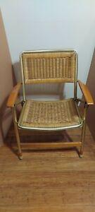 Vintage TELESCOPE Vinyl Aluminum Lawn  Folding Chair Mid century mod hardwood