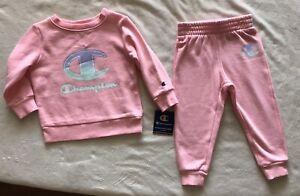CHAMPION Athleticwear Toddler Girl's Fleece Crew & Joggers 2-Piece Set- 2T