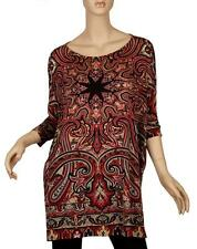 NEW ETRO PAISLEY STRETCHY VISCOSE MULTI-COLORED TUNIC TOP SHIRT 44/10