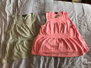 J Crew 100% Linen Vest Tops Size Small 10-12 Bnwt X2 Grey And Pink