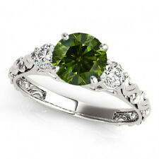 0.60 Carat Green & White Round Diamond 3 Stone Bridal Ring 14k White Gold Best