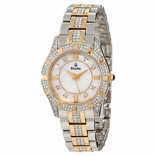 98L135 BULOVA DRESS WATCH S/S/GOLD PLATED & CRYSTAL ANALOG/MODERN LADIES WATCH