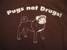 Get Pugs Not Drugs Dog Doggy Puppy PUG Lover Cute Gift Distressed T Shirt XL
