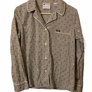 FIGS Women's XS Gray Button Down Scrub or Sleepwear Top Shirt Heartbeat Hearts