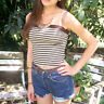 CROP-TOP BLOGGER HIPSTER BANDEAU TOP zu Highwaist BRAUN GOLD Gr.34/36 XS/S