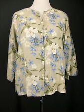 LIZ CLAIBORNE Top L Beige Floral Blue Green White 100% Linen Shirt Jacket