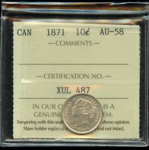 1871 Canada Ten Cents Silver Coin - ICCS AU-58