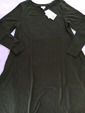 Nwt Lularoe Large Emily Dress Long Sleeves With Pockets Solid Army Green