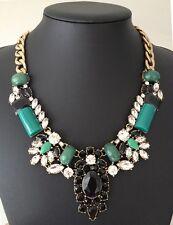 NEW Crystal Statement Pendant Collar Necklace Green Acrylic Stones Rhinestone