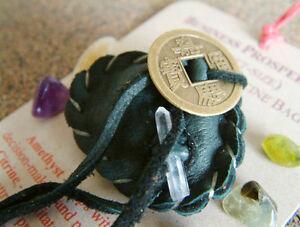 BUSINESS PROSPERITY CRYSTAL MEDICINE BAG Pocket Size Deer Pouch w/ Reiki Stones
