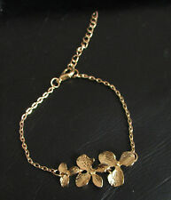 Gold Orchid Flower Bracelet Cascading Holiday Vintage Chain Tropical Bridal B89