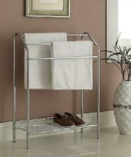 Bathroom Towel Rack Stand Shelf Chrome Storage Floor Holder Metal Free Standing