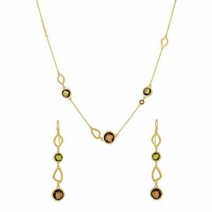 Silverly Gold Plated .925 Sterling Silver Green Gemstone Necklace Earrings
