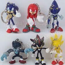 6pcs Sonic the Hedgehog Super Metal Sonic Shadow Knuckles Werehog Key Ring Chain