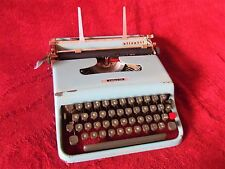 Vintage 1950s Olivetti Italy Lettera 22 Blue  Portable Typewriter without Case