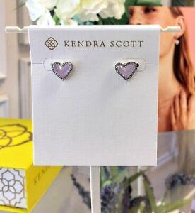 New KENDRA SCOTT  Fashion Purple Amethyst Ari Heart Silver Stud Earring