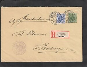 Württemberg Dienstpost, DU 5 mit ZuF Mi.-Nr. 116 als R.-Brief, Tailfingen 1912
