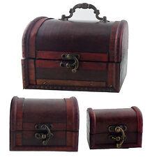 Truhe aus Holz Schatzkiste Schatztruhe Holzkiste mit Deckel Vintage Deko Box DIY