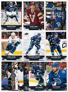 2013-14 Upper Deck Vancouver Canucks Team SET x13 Luongo Daniel Henrik Sedin