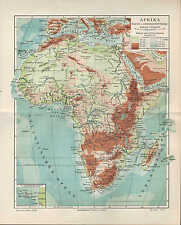 Landkarte map 1905: AFRIKA Fluß- und Gebirgssysteme. Maßstab: 1 : 38.000.000