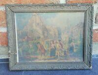 Ancien cadre en bois et plâtre 29 cm sur 22 Cm Vintage, Décoration