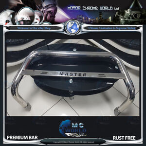 FITS TO RENAULT MASTER BULL BAR CHROME NUDGE A-BAR LOGO 2004-2010 OFFER (NXL1)
