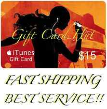 $15 US iTUNES CARD gift voucher certificate Apple USA USD iTune 100% Super Fast