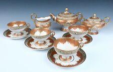 Nippon Pedestal Tea Set Jeweled Moriage Gold Teapot Cup Saucer Antique Porcelain
