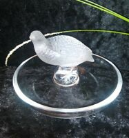 Vintage Lalique France  Partridge Quail Bird Ring Holder Dish Signed EXCELLENT