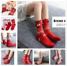 Women Girls Christmas Deer Cotton Ankle Socks Warm Winter Deer Wool Xmas Gift LG