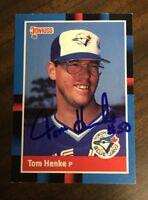 TOM HENKE 1988 DONRUS AUTOGRAPHED SIGNED AUTO BASEBALL CARD BLUE JAYS 490