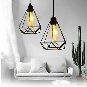 Modern Industrial Wire Cage Style Retro Ceiling Pendant Light lamp Shade Metal
