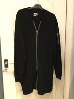 Mens  Asos Long black zip up sweatshirt jacket size xl