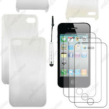 Housse Etui Coque Rigide Gouttes Blanc Apple iPhone 4S 4+Mini Stylet+3 Films