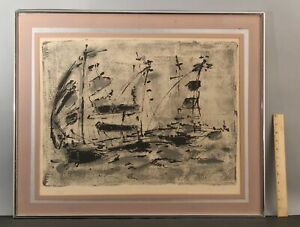 1970 Signed Modernist Abstract SAILBOATS Artist Proof Lithograph Print NR