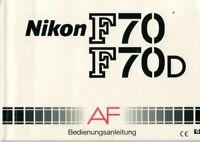 NIKON - F70 F70D AF - Bedienungsanleitung für Kamera - H-3439