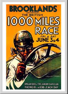 -A3 Size- Brooklands 100 Mile Race 190s - Motor Car Racing Vintage Poster #09