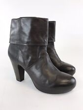 Vic Ladies Brown Leather Ankle Pull On High Heels Winter Boots Sz UK7 EUR40 VGC