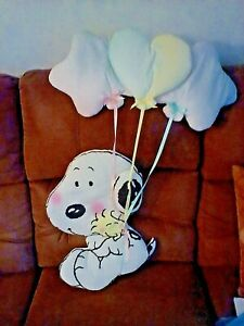 RARE Large Nursery Wall Hanging Decor BABY SNOOPY Holding Balloons LAMBS & IVY