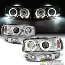 2001-2006 GMC Sierra Yukon Denali LED Halo Headlights+Bumper Signal Lights Lamps