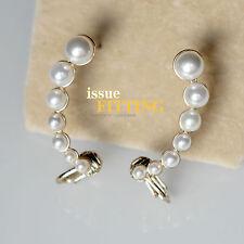 Boucles d`Oreilles Clous Clips Doré Autour d`Oreille Perle Blanc C9
