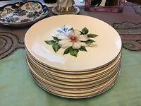 "Edwin Knowles DAMASK ROSE -Dinner Plates X4024-Silver Rim-10"" Vintage-USA"