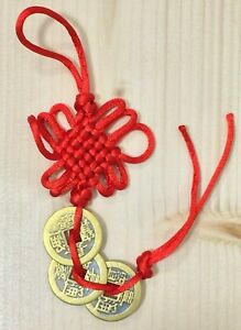 Chinese Lucky Coins Feng Shui Hanging Wealth Success Luck Charm I Ching Coin UK