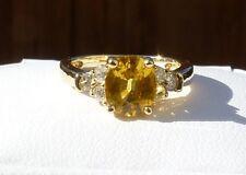 NEW GORGEOUS 14KT YG NATURAL YELLOW SAPPHIRE & DIAMOND LADIES RING