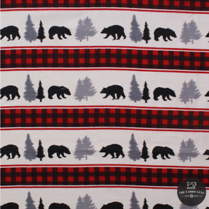 """Soft Printed Brushed Cotton, Festive Silhouette on Checks, Christmas 44"""""""