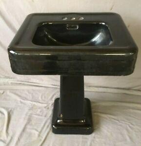 "Antique 24"" Cast Iron Black Porcelain Bath Pedestal Sink Old Vtg Crane 234-19E"