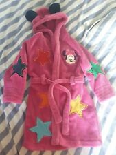 Girls Minnie Mouse Dressing Gown Disney Hooded Robe Mickey Gown
