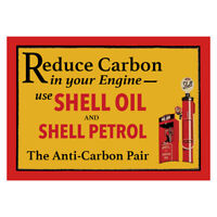 Vintage Shell Petrol Oil Advertising Garage Sign Motor Metal Shed Workshop engin