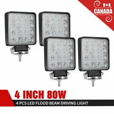 4 Inch 80W 4Pcs LED Work Light Bar Flood SUV Truck Offroad Square Driving Lights